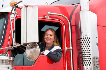 Woman Truck Driver Federal Contract Worker