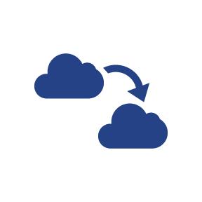 Information being transferred in the cloud Icon.