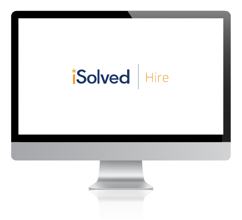 Computer showing iSolved Hire logo.