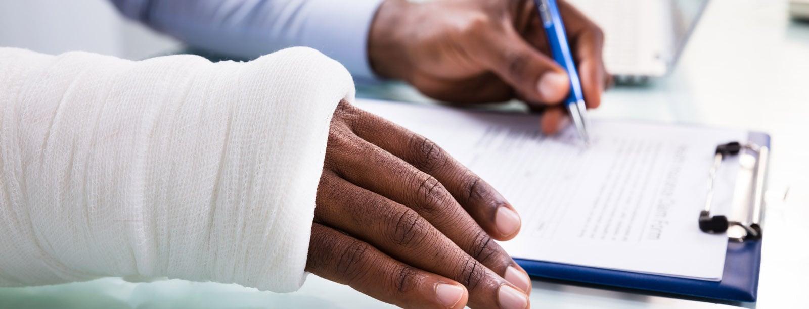 Injured Man Filling Form
